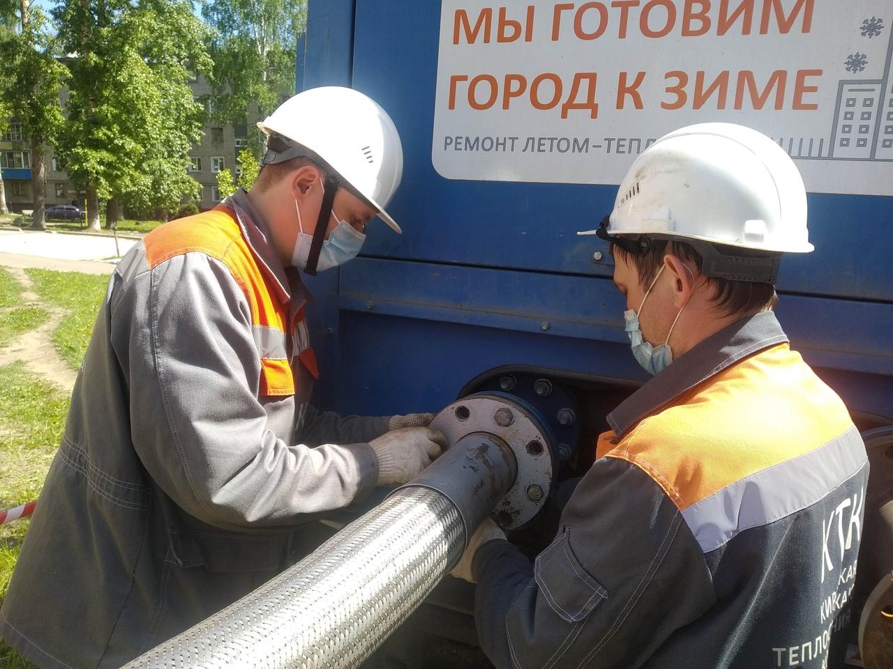 Сто участков теплосетей Кирово-Чепецка проверили  повышенным давлением
