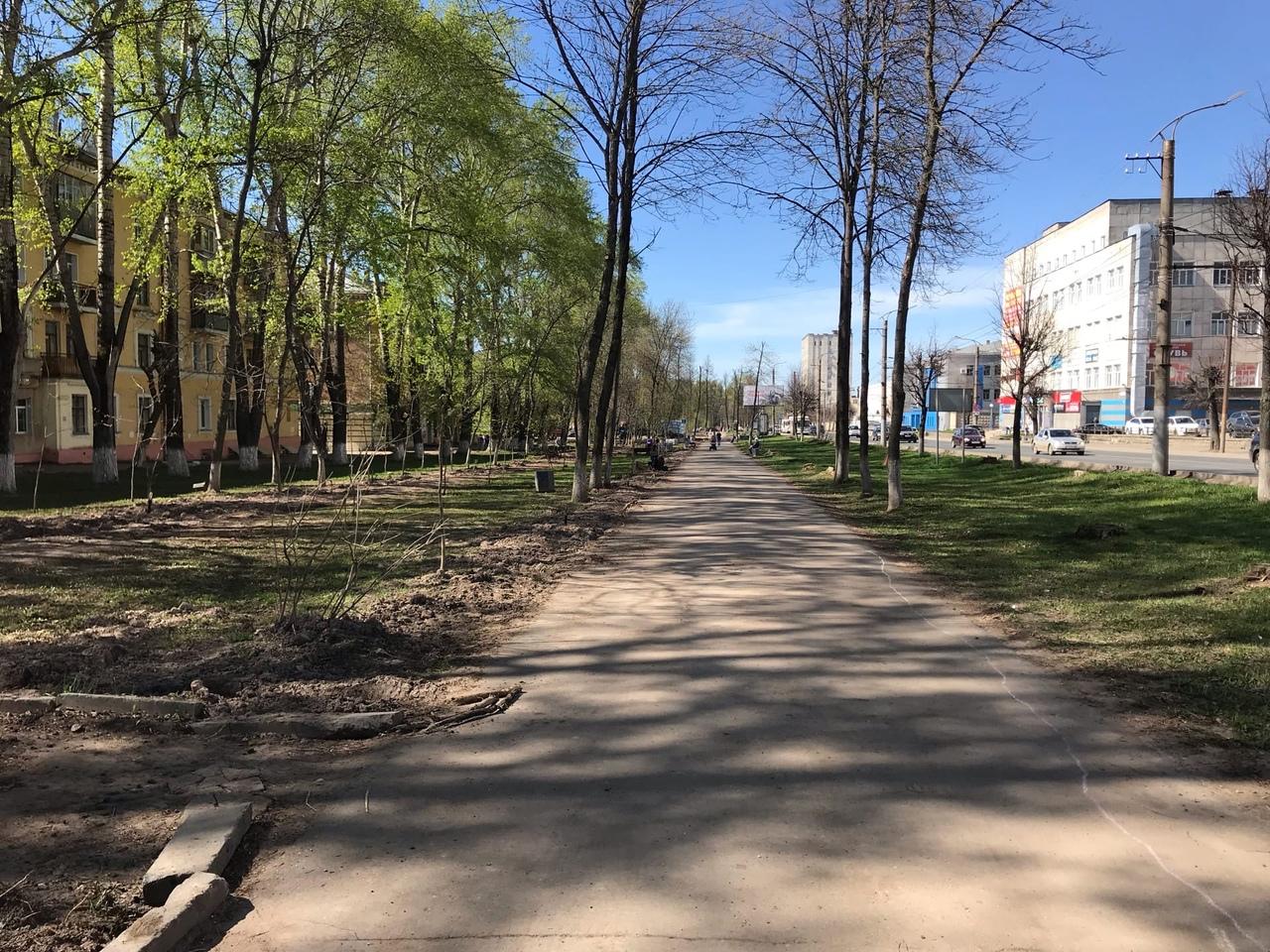 В Кирове стартовали работы по благоустройству тротуаров и зеленых зон