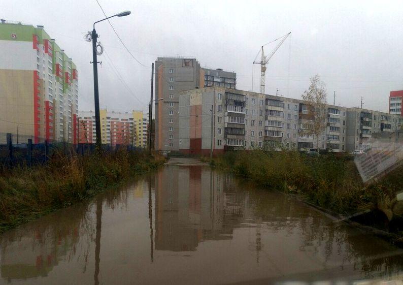 Дорога превратилась в пруд с уточками в новом микрорайоне