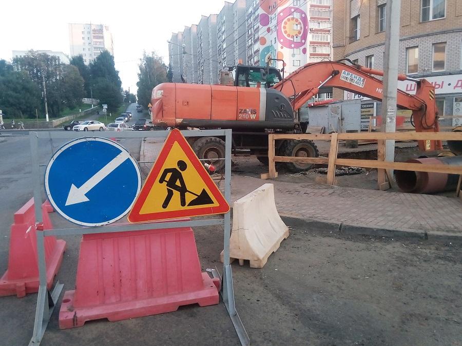 Ограничение движения транспорта у старого моста через Вятку