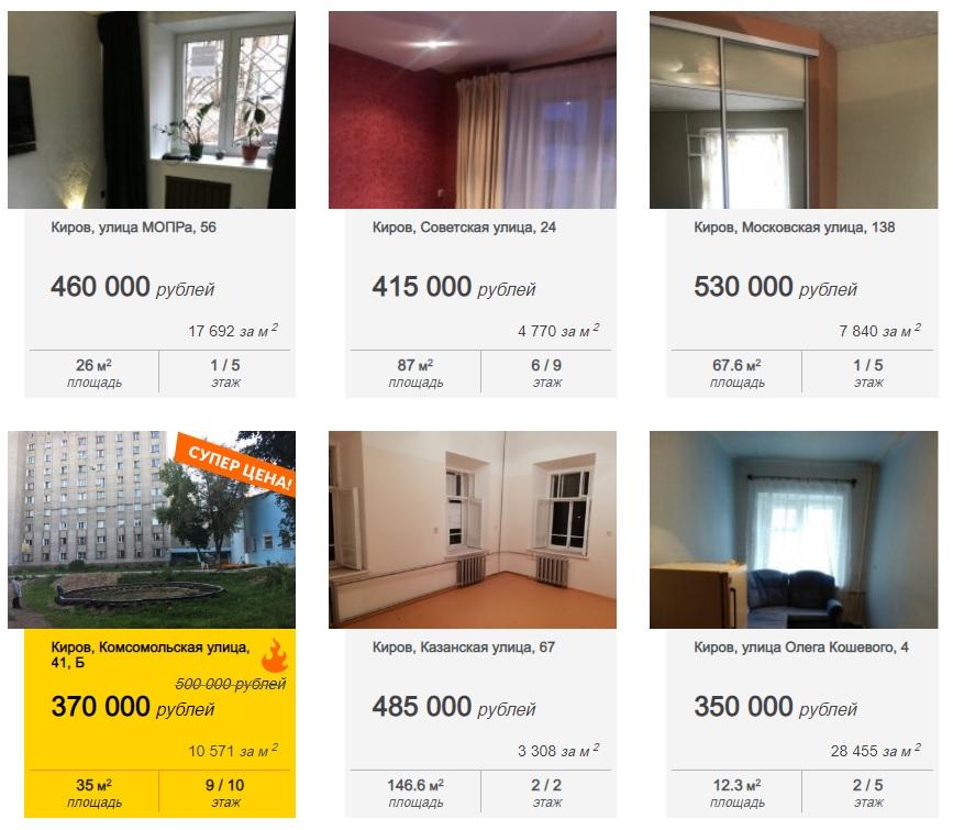 Комнаты в Кирове: от 220 000 рублей!